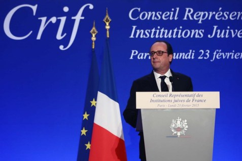 """French President François Hollande says modern """"anti-Semitism"""" stems from """"hatred of Israel."""" (Presidency of France)"""